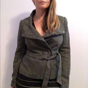 H&M charcoal grey wool salt pepper short jacket